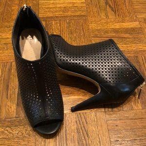 Laser cut open-toe booties